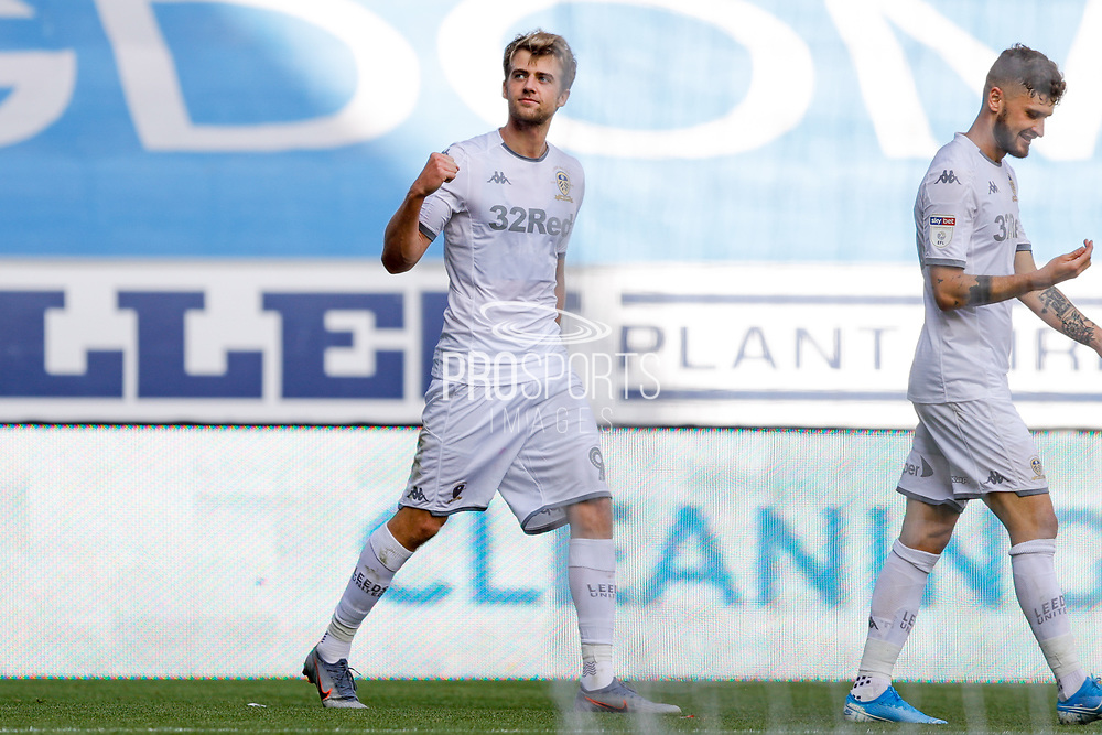 Leeds United forward Patrick Bamford (9) scores a goal and celebrates to make the score 0-2 during the EFL Sky Bet Championship match between Wigan Athletic and Leeds United at the DW Stadium, Wigan, England on 17 August 2019.