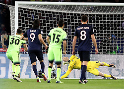 Joe Hart of Manchester City saves a penalty taken by Zlatan Ibrahimovic of Paris Saint-Germain - Mandatory by-line: Robbie Stephenson/JMP - 06/04/2016 - FOOTBALL - Parc des Princes - Paris,  - Paris Saint-Germain v Manchester City - UEFA Champions League Quarter Finals First Leg