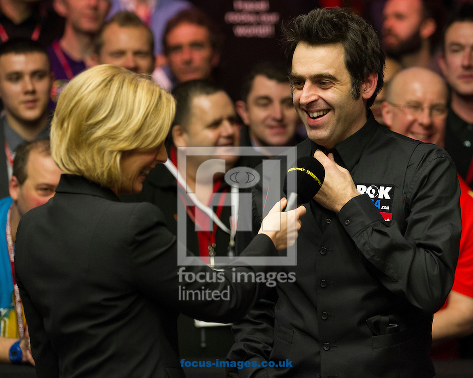 Picture by Paul Terry/Focus Images Ltd +44 7545 642257<br /> 19/01/2014<br /> Ronnie O'Sullivan is interviewed after winning The Masters final at Alexandra Palace, London.