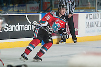 KELOWNA, CANADA - DECEMBER 6: Joe Gatenby #28 of Kelowna Rockets skates against the Prince Albert Raiders on December 6, 2014 at Prospera Place in Kelowna, British Columbia, Canada.  (Photo by Marissa Baecker/Shoot the Breeze)  *** Local Caption *** Joe Gatenby;