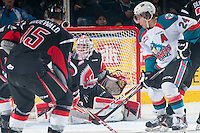 KELOWNA, CANADA - FEBRUARY 14: Zach Sawchenko #31 of Moose Jaw Warriors defends the net against the Kelowna Rockets on February 14, 2015 at Prospera Place in Kelowna, British Columbia, Canada.  (Photo by Marissa Baecker/Shoot the Breeze)  *** Local Caption *** Zach Sawchenko;