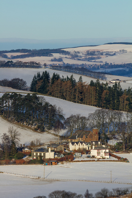 Late Winters dawn over the Scottish Border region of Upper Tweeddale overlooking Drumelzier
