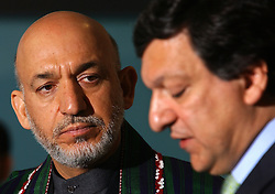 BRUSSELS, BELGIUM - MAY-12-2005 - Afgan President Hamid Karzai (L) and the President of the European Commission Jose Manuel Barroso (R), hold a press briefing after a bilateral meeting, at the European Commission in Brussels. (PHOTO © JOCK FISTICK)<br />