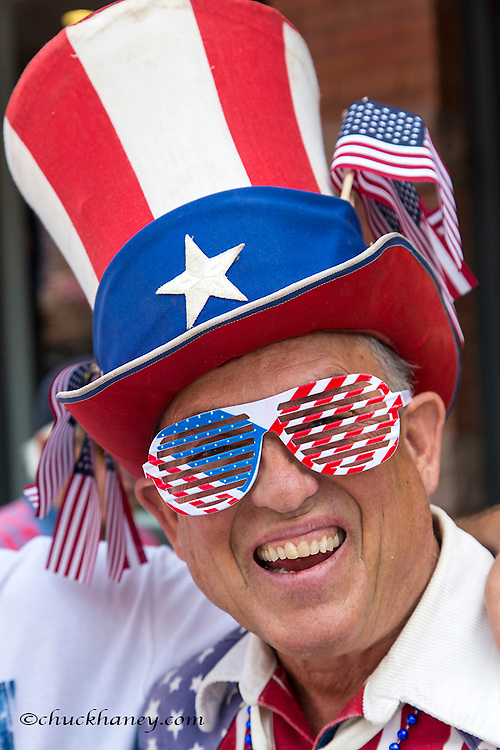Patriotic man at 4th of July parade in Aspen, Colorado, USA model released