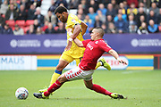 AFC Wimbledon striker Andy Barcham (17) battles for possession with Charlton Athletic defender Ahmed Kashi (3) during the EFL Sky Bet League 1 match between Charlton Athletic and AFC Wimbledon at The Valley, London, England on 28 October 2017. Photo by Matthew Redman.