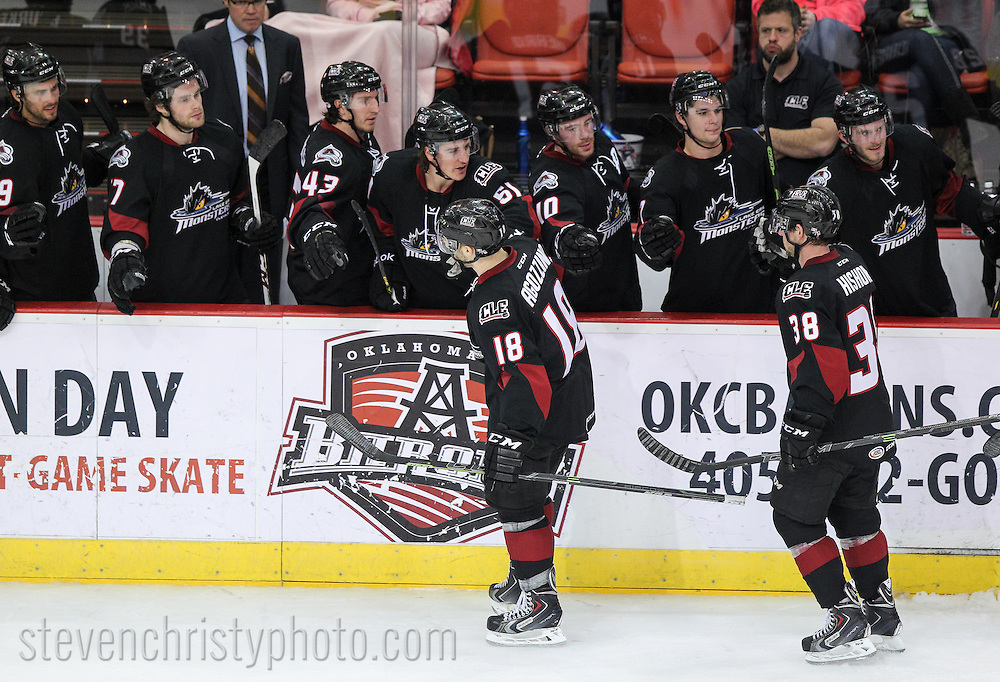 January 31, 2015: The Oklahoma City Barons play the Lake Erie Monsters in an American Hockey League game at the Cox Convention Center in Oklahoma City.