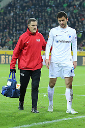 11.12.2014, Borussia Park, Moenchengladbach, GER, UEFA EL, Borussia Moenchengladbach vs FC Zuerich, Gruppe A, im Bild Ivan Kecojevic (FC Zuerich #25) wird verletzt vom Platz gefuehrt // during the UEFA Europaleague Group A match between Borussia Moenchengladbach and FC Zuerich at the Borussia Park in Moenchengladbach, Germany on 2014/12/11. EXPA Pictures &copy; 2014, PhotoCredit: EXPA/ Eibner-Pressefoto/ Schueler<br /> <br /> *****ATTENTION - OUT of GER*****