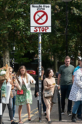 © Licensed to London News Pictures. 16/09/2018. London, UK. Local community activists place spoof street signs in the E2 postcode area of East London to highlight local drug dealing. The area is reported to be the cheapest heroin drug in Europe, East London, UK. Photo credit: Ray Tang/LNP