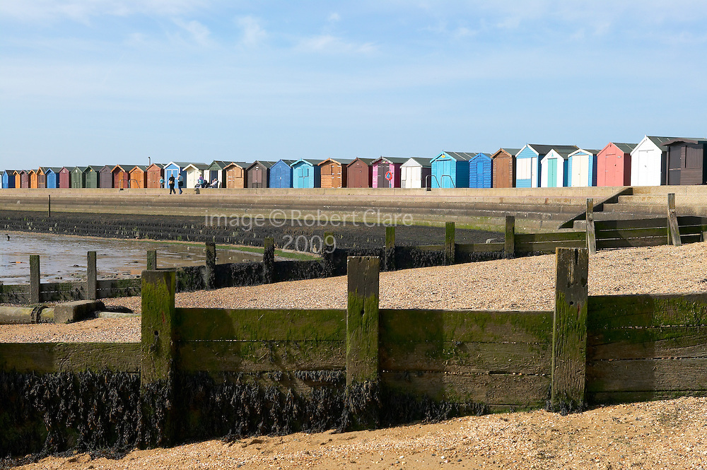 UK England Essex Brightlingsea Breakwater Beach Huts Promenade Winter