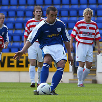 St Johnstone v Hamilton Accies..31.07.04  Bell's Cup<br />David Hannah scores from the spot<br /><br />Picture by Graeme Hart.<br />Copyright Perthshire Picture Agency<br />Tel: 01738 623350  Mobile: 07990 594431