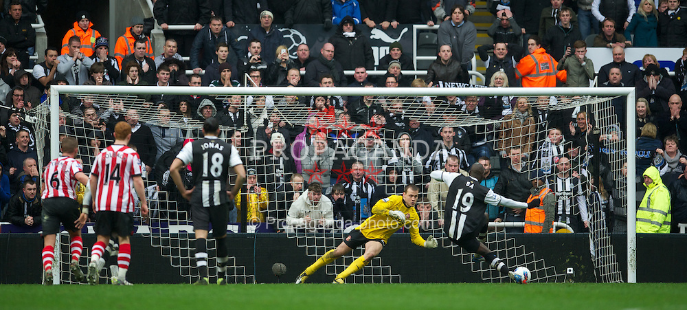 NEWCASTLE, ENGLAND - Sunday, March 4, 2012: Newcastle United's Demba Ba sees his penalty saved by Sunderland's goalkeeper Simon Mignolet during the Premiership match at St. James' Park. (Pic by David Rawcliffe/Propaganda)