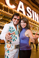 Portrait of woman and Elvis impersonator