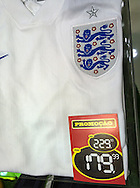 An England team shirt discounted from R$229 (approx &pound;60) to R$179 (approx &pound;47) in a sports store in the Botafogo district of Rio de Janeiro, Brazil. Picture by Andrew Tobin/Focus Images Ltd +44 7710 761829<br /> 11/07/2014