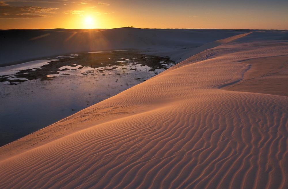 Sunset over Sand Dunes, Parque Nacional dos Lencois near Barreirinhas, Maranhao, Brazil
