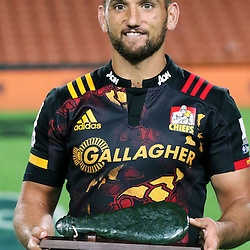 Aaron Cruden all smiles after 100 super rugby games during the Investec Super  Rugby match between the Chiefs and Blues at FMG Waikato Stadium in Hamilton, New Zealand on Friday 3 March 2017. Photo: Dion Mellow / lintottphoto.co.nz