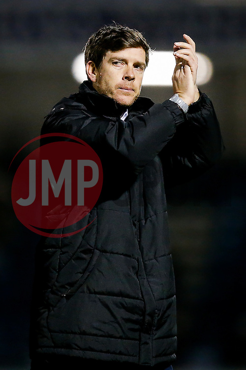 Bristol Rovers Manager Darrell Clarke celebrates after Bristol Rovers win the match to go 2 points clear at the top of the league - Photo mandatory by-line: Rogan Thomson/JMP - 07966 386802 - 24/02/2015 - SPORT - FOOTBALL - Bristol, England - Memorial Stadium - Bristol Rovers v Braintree Town - Vanarama Conference Premier.