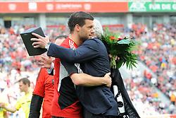 28.04.2012, Bay Arena, Leverkusen, GER, Bayer 04 Leverkusen vs Hannover 96, 33. Spieltag, im Bild Michael Ballack ( links ) wird zu seinem Abschied von Sportdirektor Rudi Voeller ( rechts beide Bayer 04 Leverkusen ) herzlich umarmt. // during the German Bundesliga Match, 33th Round between Bayer 04 Leverkusen and Hannover 96 at the Bay Arena, Leverkusen, Germany on 2012/04/28. EXPA Pictures © 2012, PhotoCredit: EXPA/ Eibner/ Thomas Thienel..***** ATTENTION - OUT OF GER *****