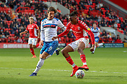 Charlton Athletic midfielder Josh Parker (10) taking on Rochdale defender Jordan Williams (8) during the EFL Sky Bet League 1 match between Charlton Athletic and Rochdale at The Valley, London, England on 4 May 2019.