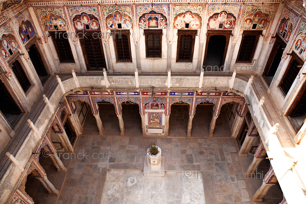 courtyard of  Muraraka haveli in nawalgarh city rajasthan state in indi