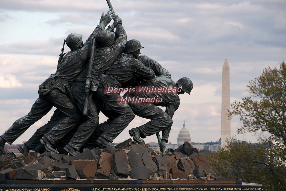 Iwo Jima Memorial with the Washington Monument and Capitol Building in the background