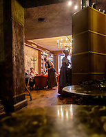 RIGA, LATVIA - CIRCA MAY 2014: Interior view of the famous Black Magic Riga bar in Old Town