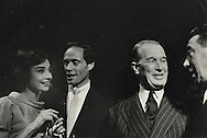 Audrey Hepburn, Mel Ferrer, Maurice Chevalier and Fernandel in the late fifties.<br /> <br /> Audrey Hepburn , Mel Ferrer , Maurice Chevalier et Fernandel &agrave; la fin des ann&eacute;es cinquante.