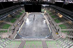 View on the ice rink at preparing Ice in Arena Stozice for World Championship Div. I on April 10, 2012 at SRC Stozice, Ljubljana, Slovenia. (Photo By Matic Klansek Velej / Sportida.com)
