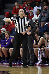 17 February 2018:  Jeff Malham calls carrying the ball during a College mens basketball game between the University of Northern Iowa Panthers and Illinois State Redbirds in Redbird Arena, Normal IL