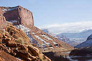 Views of the Fisher Towers near Moab, Utah from far away and up-close in winter.