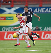 Dundee&rsquo;s Darren O&rsquo;Dea tussles with Hamilton&rsquo;s Eamonn Brophy - Hamilton v Dundee in the Ladbrokes Scottish Premiership at Superseal stadium, Hamilton. Photo: David Young<br /> <br />  - &copy; David Young - www.davidyoungphoto.co.uk - email: davidyoungphoto@gmail.com