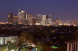 evening view of the downtown Houston skyline seen from the southern side