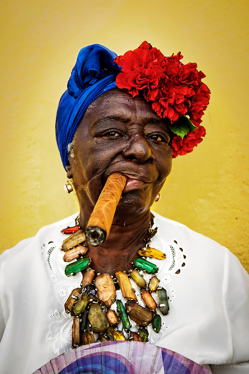 Colorful woman with cigar