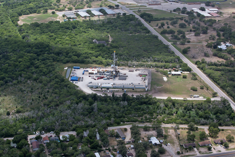 Fracking industry site in Karnes County, Texas in the heart of the Eagle Ford Shale.