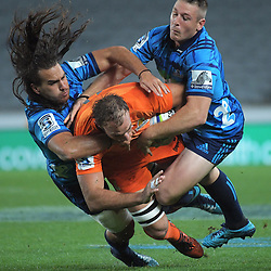 Leonardo Senatore is tackled during the Super Rugby match between the Blues and Jaguares at Eden Park in Auckland, New Zealand on Friday, 28 April 2018. Photo: Dave Lintott / lintottphoto.co.nz
