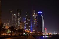 """08 APR 2013, DOHA/QATAR<br /> Palm Towers (2. u. 4. v. links), Tornado Tower (3. v.L.) Al Bidda Tower (5. v.L.), Qatar World Trade Center (Qatar General Insurance Reinsurance Company) (2.v.R.), und Doha Tower, auch """"Condom Tower"""" (halb verdeckt rechts), gesehen von der Al Corniche Street<br /> IMAGE: 20130408-01-046<br /> KEYWORDS: Katar, Hochaus, Wolkenkratzer, Tower, Skyscraper, Nacht, Nachtaufnahme, night, Hochhaeuser, Hochäuser, Skyscraper, West Bay, Dwontown Doha"""