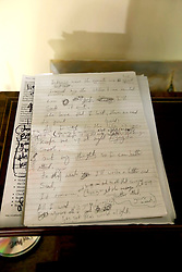 UK ENGLAND THAME 27AUG14 - Hand-written lyrics of a song by the deceased Bee Gees singer Robin Gibb, on display at his home in Thame, Oxfordshire.<br /> <br /> jre/Photo by Jiri Rezac<br /> <br /> © Jiri Rezac 2014
