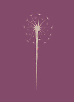 Beautiful dandelion seeds with a little lady bug climbing the stem. Minimalistic abstract oriental Zen style sumi-e painting based design illustration in dark dusty pink purple colors.