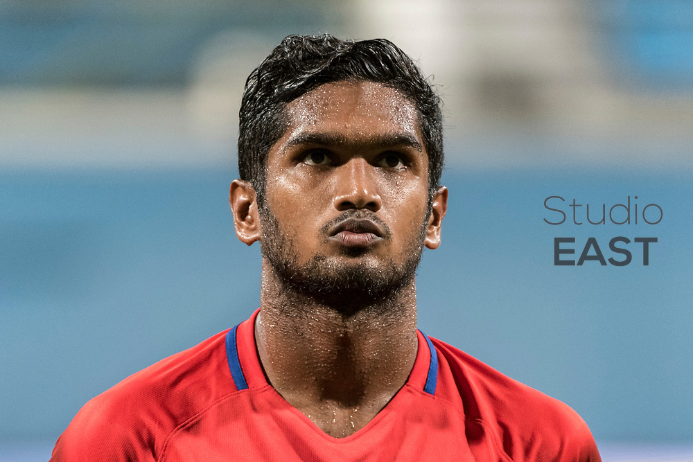 SINGAPORE, SINGAPORE - AUGUST 31: Hariss Harun of Singapore during the international friendly match between Singapore and Hong Kong at the Jalan Besar Stadium on August 31, 2017, in Singapore, Singapore. (Photo by Getty Images)