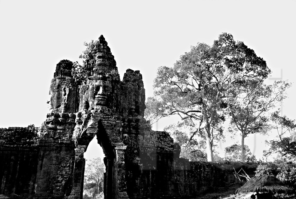 Gate in Angkor Wat temple. As time goes by, remains' re destroyed, Angkor wat, Cambodia, Asia.