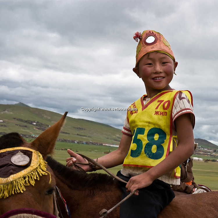 Mongolia. horse race for kids. during the Naadam festival in  Khurjit  / course de chevaux  des enfants . Naadam festival in   Khurjit - Mongolie
