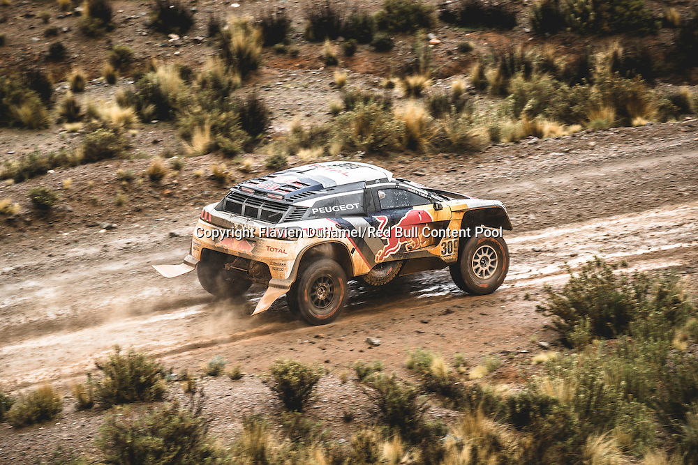 Sebastien Loeb (FRA) of Team Peugeot TOTAL races during stage 5 of Rally Dakar 2017 from Tupiza to Oruro, Bolivia on January 6, 2017. // Flavien Duhamel/Red Bull Content Pool // P-20170106-00180 // Usage for editorial use only // Please go to www.redbullcontentpool.com for further information. //