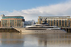 © Licensed to London News Pictures. 01/10/2016. LONDON, UK.  The superyacht Kismet arrived in London and moored at Butlers Wharf on the River Thames earlier this week. Kismet is 308 feet long and is reportedly owned by Pakistani-American billionaire Shahid Khan. Mr Khan owns the National Football League (NFL) team, the Jacksonville Jaguars, who are due to play the Colts in an International Series game at Wembley tomorrow. Kismet has 6 staterooms, with the master bedroom having its own private deck with jacuzzi and helipad and can be chartered for an estimated £1m per week.  Photo credit: Vickie Flores/LNP