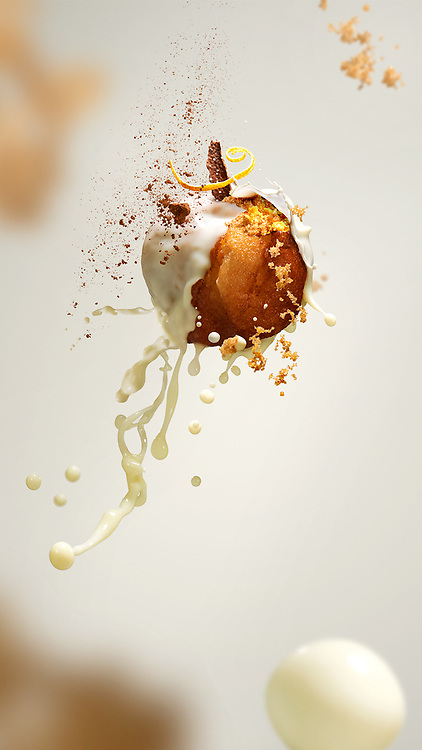 Series of images created for Air Balls - Portugese doughnuts with ingredients in midair.