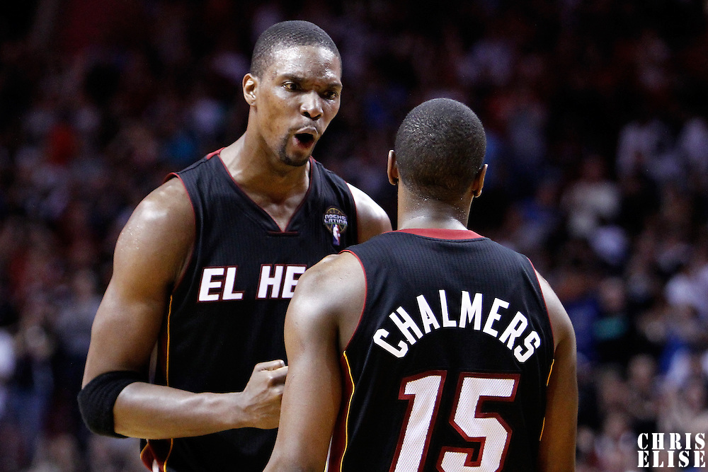 06 March 2011: Miami Heat power forward Chris Bosh (1) reacts during the Chicago Bulls 87-86 victory over the Miami Heat at the AmericanAirlines Arena, Miami, Florida, USA.