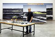 Chinese artist Zhang Xiaogang in his studio, north of Beijing.