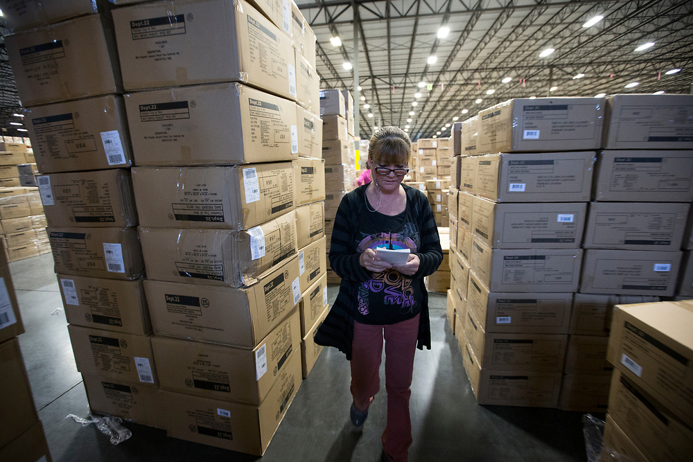 02/17/2015: POOLER, GA: xxxx xxxx works at the AO Logistics distribution center, Tuesday, Feb. 17, 2015, near the Port of Savannah in Pooler, Ga. (Stephen B. Morton for The New York Times)