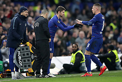 Chelsea's Ross Barkley is subbed off for Jorginho during the UEFA Europa League round of 32 second leg match at Stamford Bridge, London.