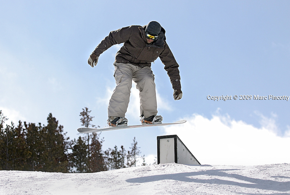 SHOT 2/6/09 12:08:15 PM - Marc Piscotty of Denver, Co. snowboarding at the Catalyst Terrain Park at Copper Mountain, Co. <br /> (Photo by Chris Schneider / &copy; 2009)