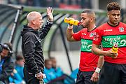 NIJMEGEN- 07-05-2017, NEC - AZ,  Stadion De Goffert, NEC Nijmegen trainer/coach Ron de Groot, NEC Nijmegen speler Gregor Breinburg