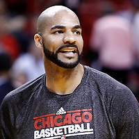 06 March 2011: Chicago Bulls power forward Carlos Boozer (5) is seen prior to the Chicago Bulls 87-86 victory over the Miami Heat at the AmericanAirlines Arena, Miami, Florida, USA.